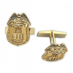 Personalized Sergeant Badge Cuff Links w  Your Number   Department