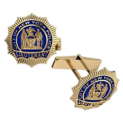 Personalized Lieutenant Enamel Badge Cuff Links w  Your Number   Department