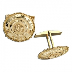 Personalized Sanitation Man s Badge Cuff links w  Department   Number