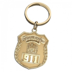 Personalized New York Police Officer s Badge Keychain w  Your Number   Department