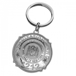 New York Personalized Sanitation Man s Badge Keychain w  Department   Number