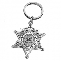 Personalized County Sheriff Badge Keychain w  Number  Rank   Dept