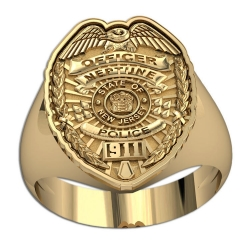 New Jersey Personalized Police Badge Ring with Number  Department  and Rank