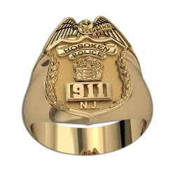 New Jersey Personalized Police Sergeant Badge Ring w  Number   Department