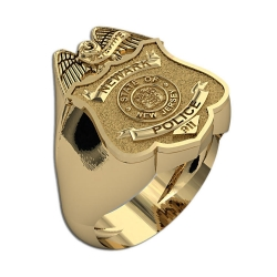 New Jersey Personalized Police Badge Ring w  Number  Department and Rank