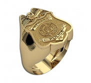 Personalized New Jersey Police Badge Ring with Number  Department and Rank