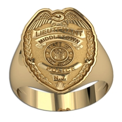 New Jersey Personalized Lieutenant Badge Ring w  Department