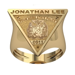 Personalized New Jersey State Police Badge Ring with Number   Name