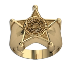 Personalized New Jersey Sheriff Badge Ring with Number  Department    Rank