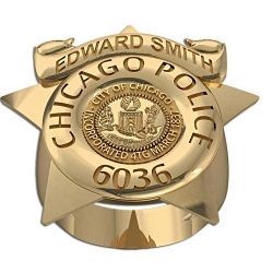 Personalized Chicago Police Ring with Number  Department  and Rank