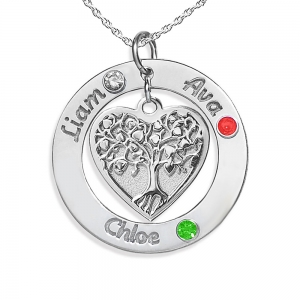 Family Tree Jewelry Personalized With Birthstones and Names