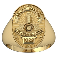 Personalized Los Angeles Police Badge Ring with Number and Rank