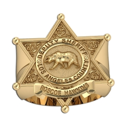 Personalized Los Angeles Sheriff Badge Ring with Rank   Name