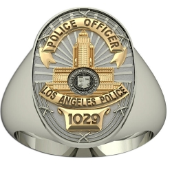 Personalized Los Angeles Two Tone Police Ring w  Badge Number and Rank