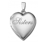 14k White Gold   Sisters    Hearts Locket