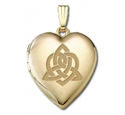 Solid 14K Yellow Gold   Sisters Love   Celtic Heart Locket