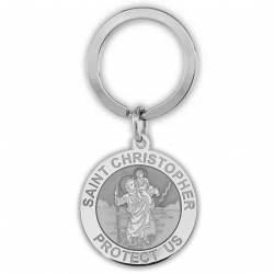 Stainless Steel Saint Christopher Religious Engravable Keychain