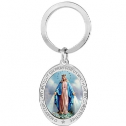 Stainless Steel Miraculous Medal Badge Religious Engravable Keychain