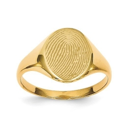 Small Womens Custom Oval Fingerprint Signet Ring