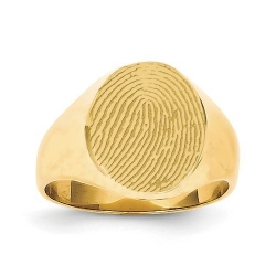 Large Womens Custom Oval Fingerprint Signet Ring