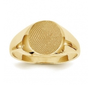 Custom Fingerprint Round Signet Ring