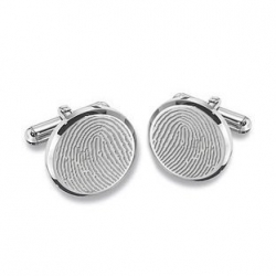 Round Shaped Sterling Silver Engravable Cufflinks