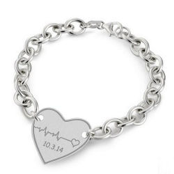 Sterling Silver Custome Heartbeat Bracelet