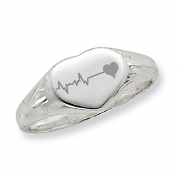 Womens Custom Heart Shaped Fingerprint Signet Ring