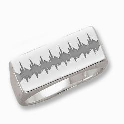 Men s Rectangle Custom Heartbeart Signet Ring