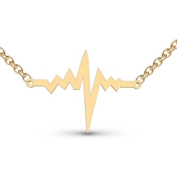 Heartbeat High Polished Outlined Shaped Necklace w  Box Chain