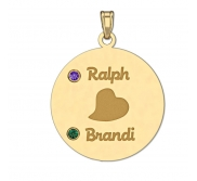 Personalized Couples Round Pendant With Two Birthstones   Names