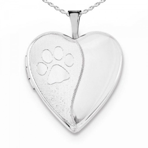 Paw Print Heart Locket