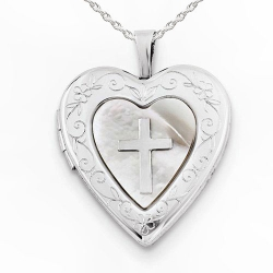 Sterling Silver Mother of Pearl Cross Heart Photo Locket