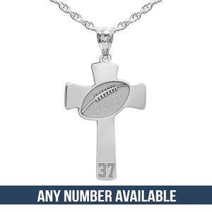 Football stitch engraved cross pendant w number pg91201 football stitch engraved cross pendant w number aloadofball Images