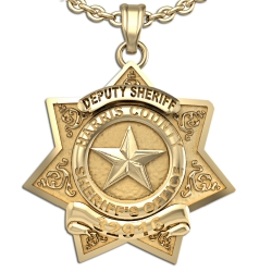 Personalized 7 Point Star Sheriff Badge Necklace or Charm   Shape 1