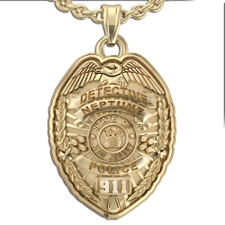 Personalized Police Badge Necklace or Charm   Shape 2