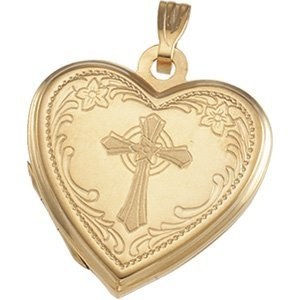PicturesOnGold.com Heart Shaped Locket W/cross, Solid 14k Yellow Gold, 3/4 in, size of nickel at Sears.com