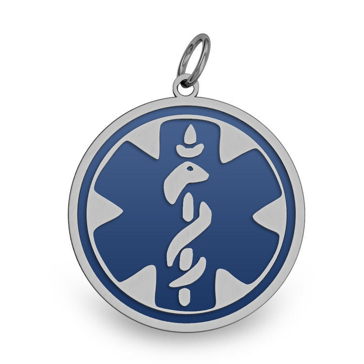 PicturesOnGold.com Stainless Steel Blue Enameled Medical Emblem Pendant, Stainless Steel, 1-1/4 in, size of half dollar at Sears.com