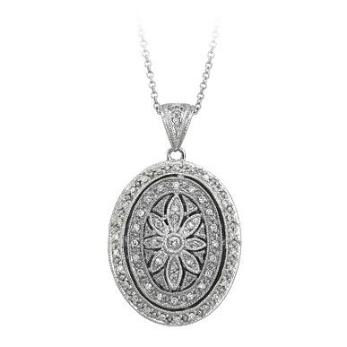 PicturesOnGold.com 14k White Gold Oval Diamond Locket, Solid 14k White Gold, 3/4 x 15/16 in