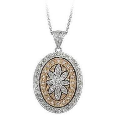 PicturesOnGold.com 14k White Gold (two Tone) Oval Diamond Locket, Solid 14k White Gold, 3/4 x 15/16 in