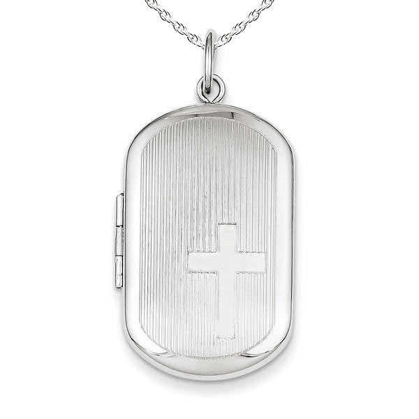 PicturesOnGold.com Sterling Silver Dog Tag Cross Locket, Sterling Silver, 1 x 1-1/4 in, height of half dollar at Sears.com