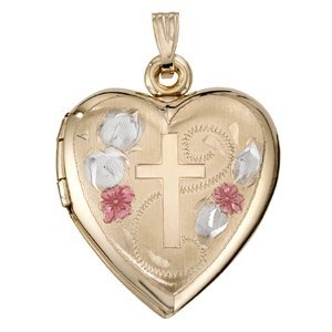 PicturesOnGold.com 14k Yellow Gold Heart Color Cross Locket, Solid 14k Yellow Gold, 3/4 in, size of nickel at Sears.com
