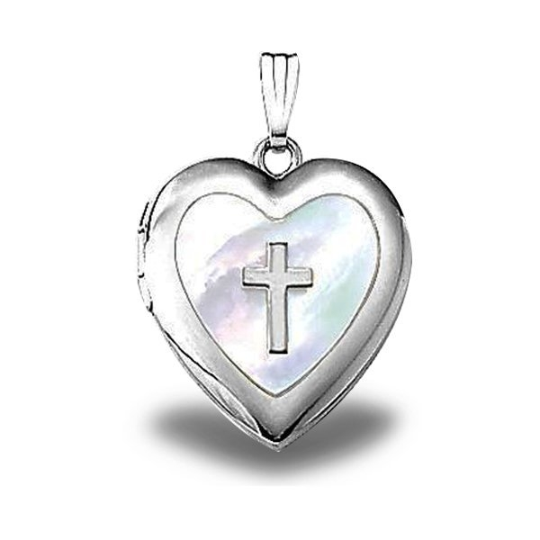 PicturesOnGold.com Sterling Silver Mother Of Pearl Cross Locket, Sterling Silver, 3/4 in, size of nickel at Sears.com
