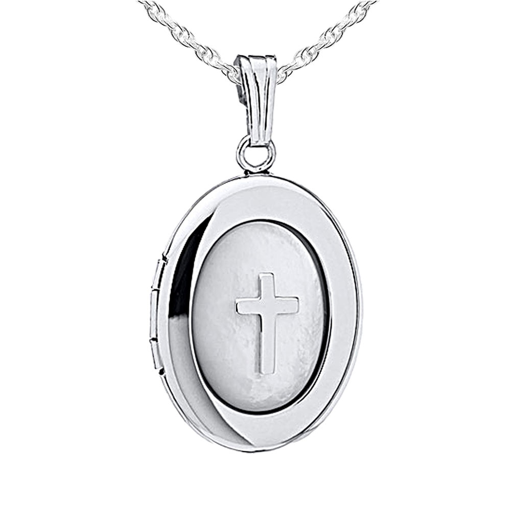 PicturesOnGold.com Sterling Silver Oval Mother Of Pearl Cross Locket, Sterling Silver, 3/4 in, size of nickel at Sears.com