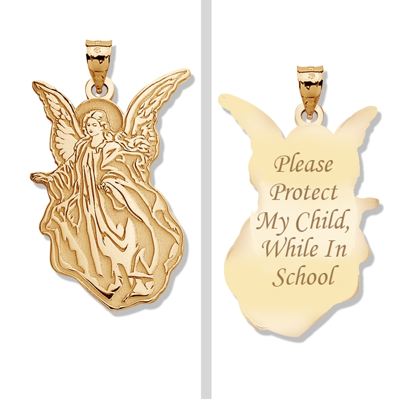 PicturesOnGold.com Guardian Angel School Protect Double Sided Pendant, Solid 14k Yellow Gold, 1/4 x 1/2 in at Sears.com