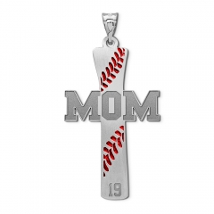 Baseball Stitch Enameled Mom Cross Pendant w  Number