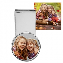 Stainless Steel Photo Engraved  Money Clip