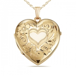 14k Gold Filled Floral Heart 4 Photo Locket