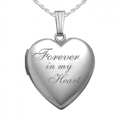 Sterling Silver  Forever In My Heart  Heart Photo Locket