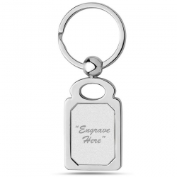Stainless Steel Engravable Rectangle Keychain